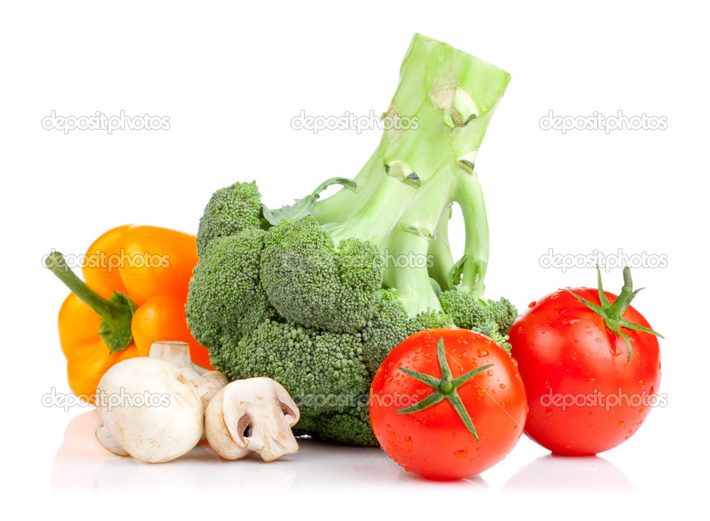 Set of vegetables: Broccoli, tomatoes, mushrooms and yellow pepp