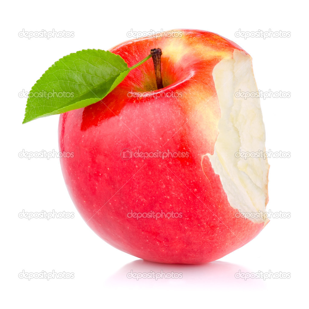 Bitten red juicy apple with green leaf isolated on white backgro