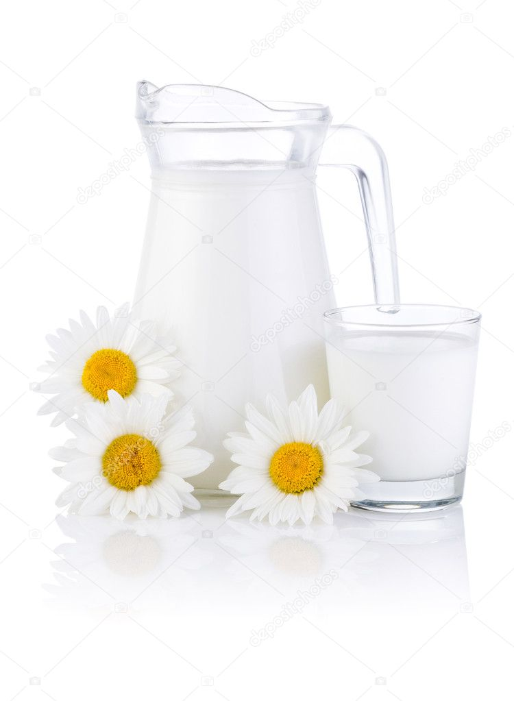 Jug fresh milk, glass and three chamomile flowers isolated on wh