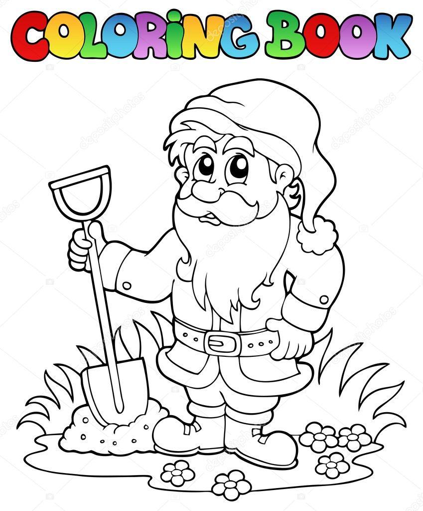 nain jardin de dessin animé livre à colorier — Image vectorielle ...
