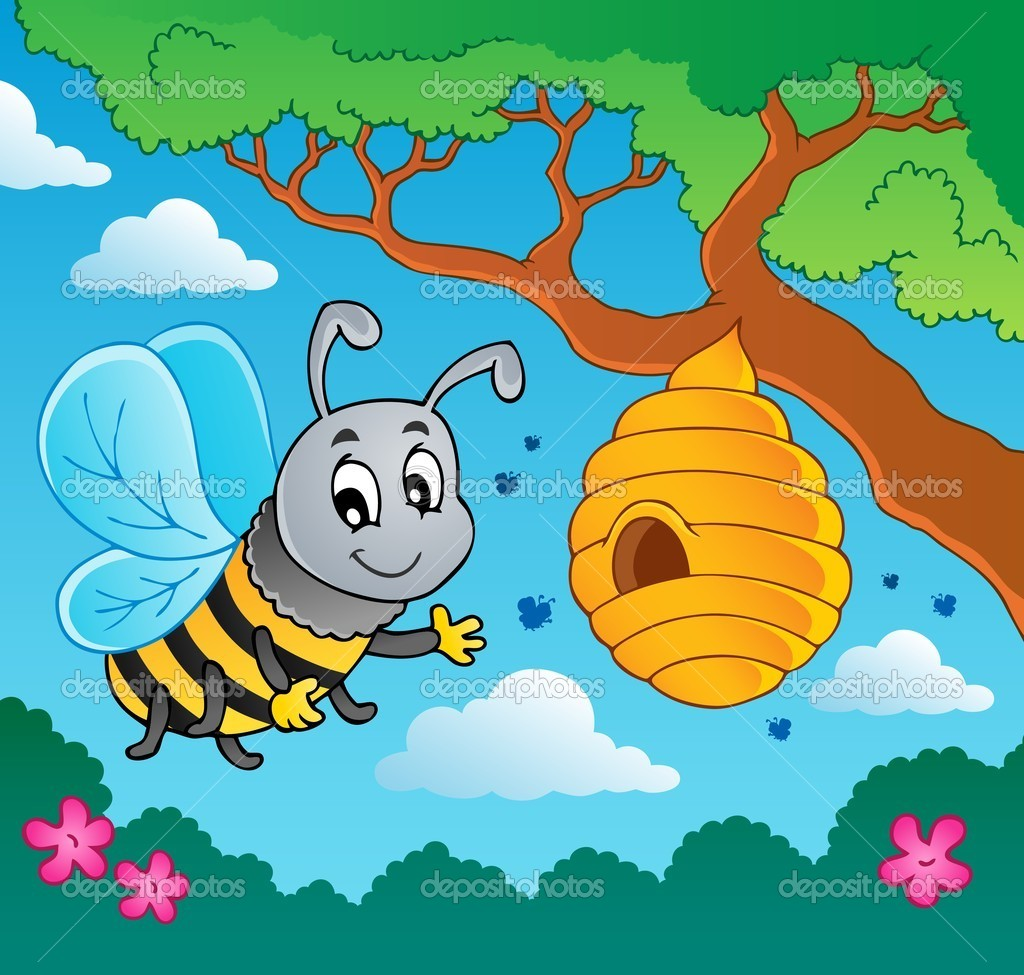 abeja de dibujos animados con colmena — Vector de stock © clairev ...