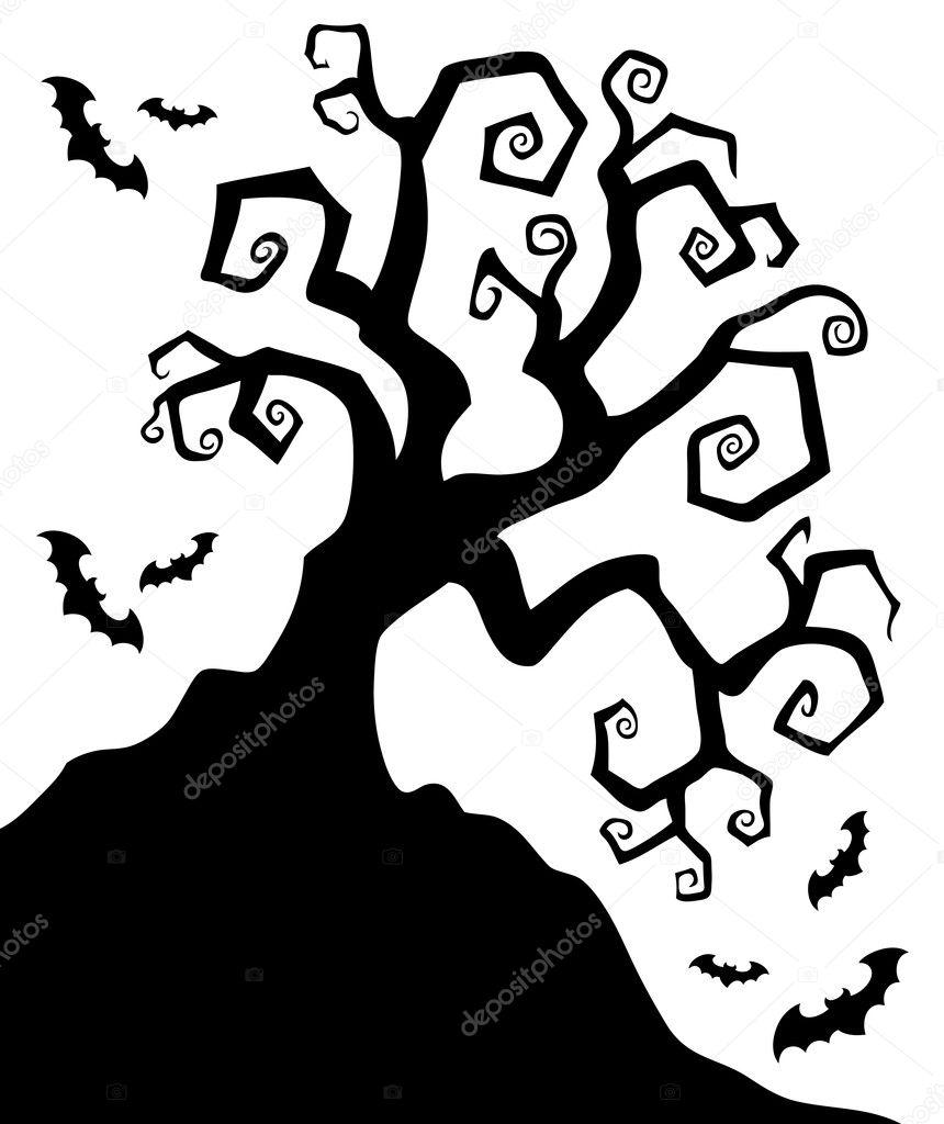 spooky silhouette of halloween tree stock vector
