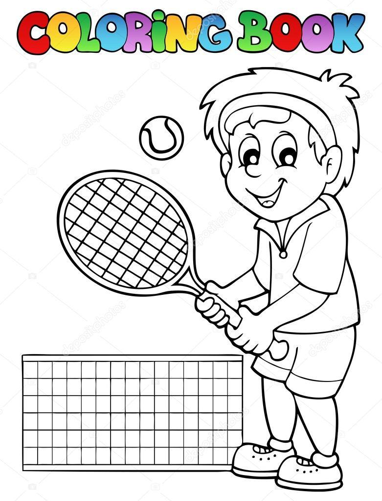 Disegni Da Colorare Tennista Libro Fumetto Vettoriali Stock