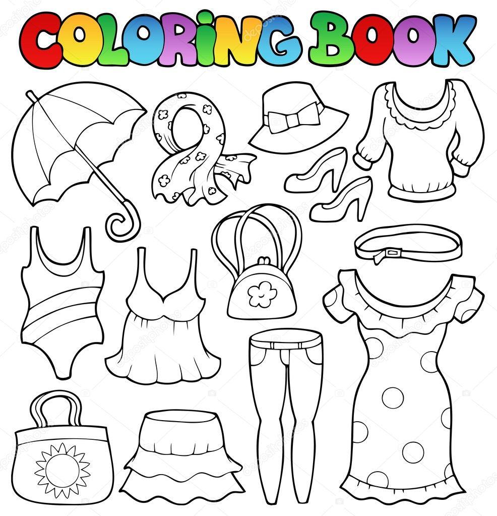 Kitap Giysi Tema 2 Boyama Stok Vektör Clairev 12202548