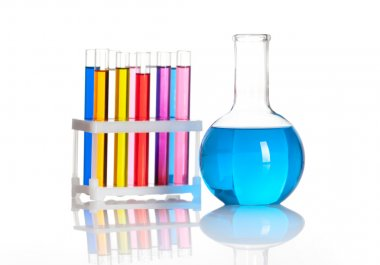 Group of test tubes in a rack and a flask with colored reagents, isolated stock vector
