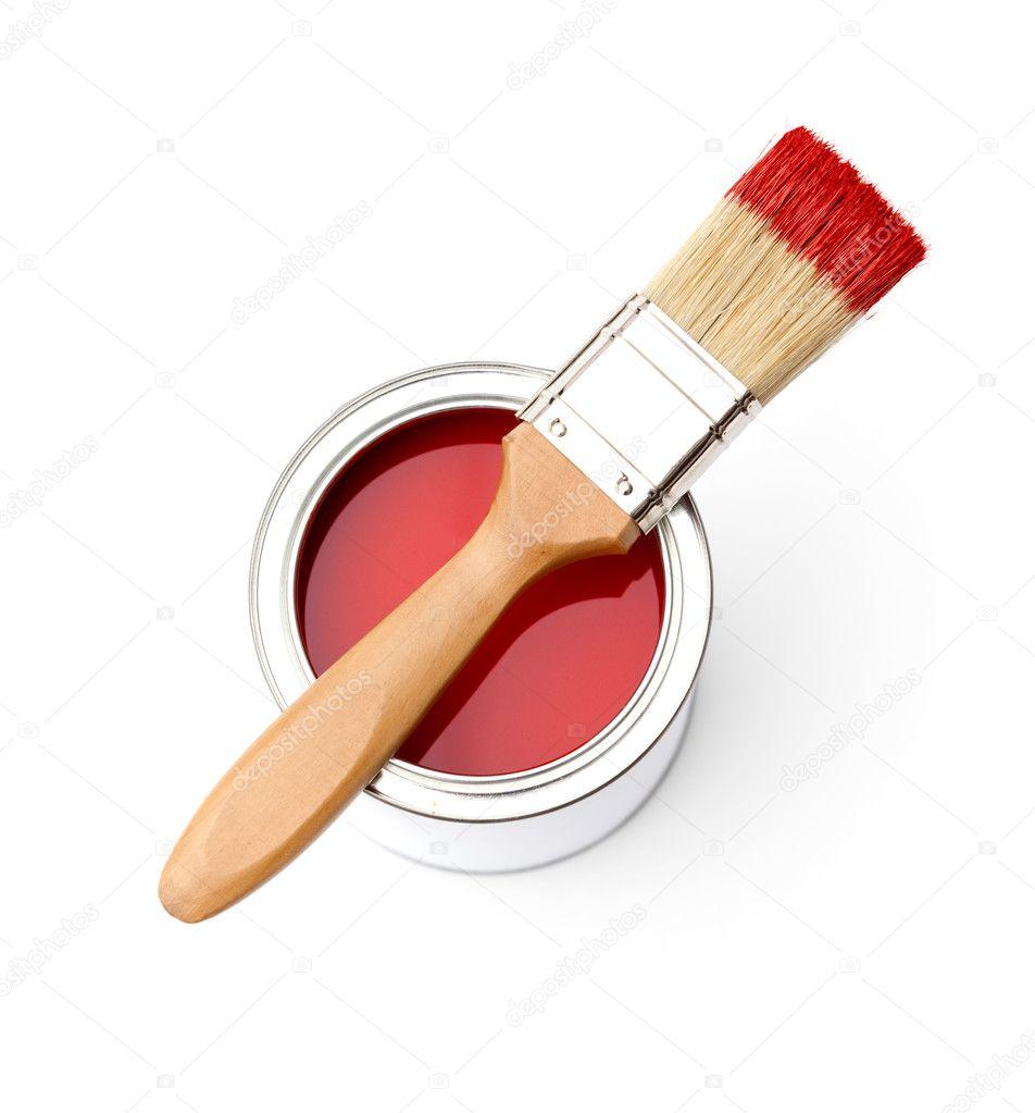 pincel con pintura. completo de la lata pintura roja, pincel \u2014 fotos stock #11749545 con