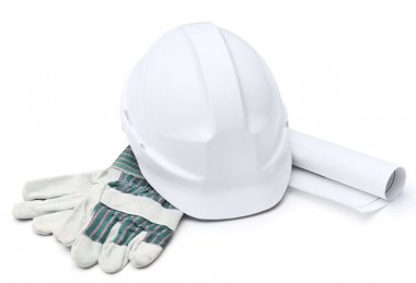 White hard hat, gloves, druft