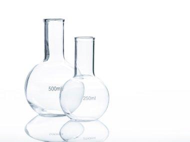 Two empty laboratory flacks