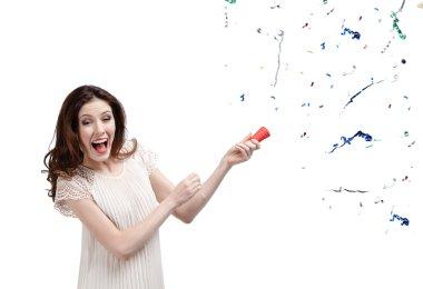 Woman claps firecracker