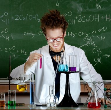 Mad professor laughs handing test tube