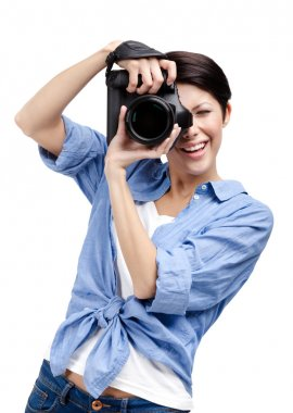 Creative lady-photographer takes shots