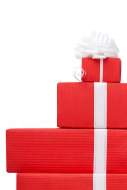Boxes with gifts decorated with white bows
