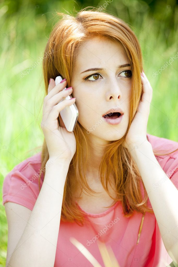 Angry redhead girl thought