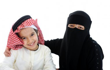 Muslim Arabic boy and girl with traditional clothes
