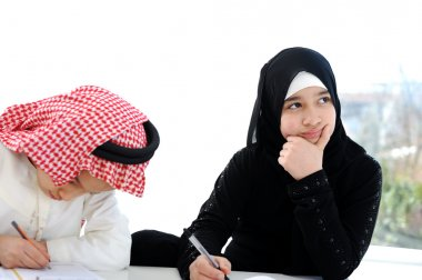 Middle eastern school children at classroom