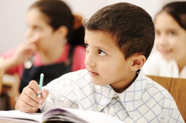 Arabic kids in the school, classroom