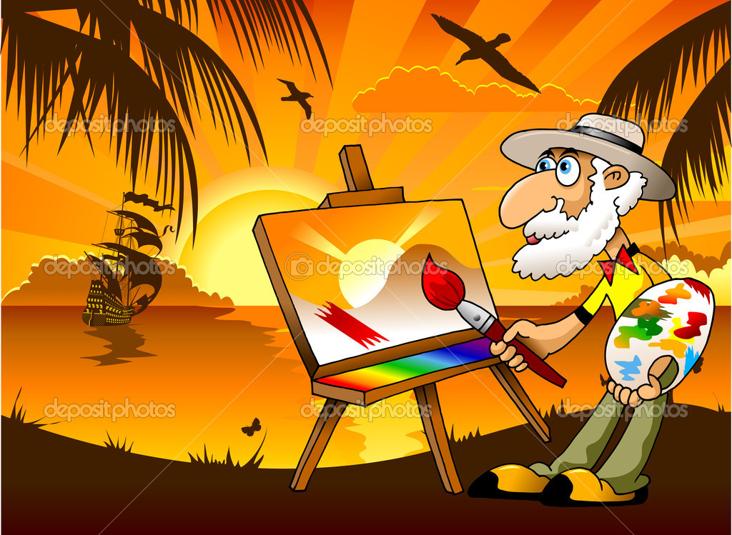 Painter and the sea