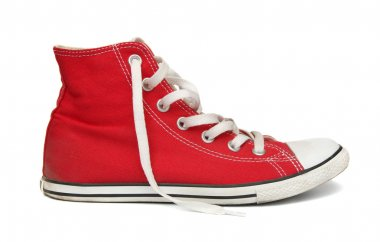 Red gym shoes.