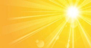 Shiny orange background with sunshine stock vector
