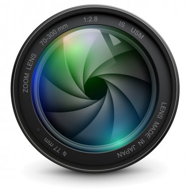 Camera photo lens with shutter. stock vector