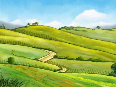Colorful and relaxing rural landscape. Digital illustration. stock vector