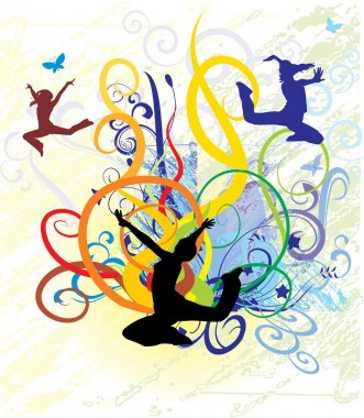 Girls dancing on color background