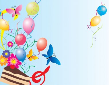 Balloons, cake, flowers and butterflies