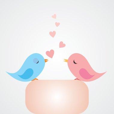 Vector cartoon birds in love