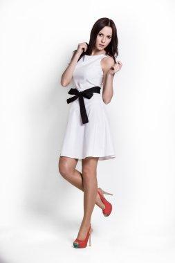 Beautifull woman in white dress