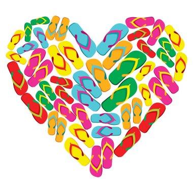 Flip flops in love heart shape