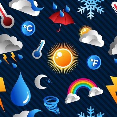 Weather Icons seamless pattern over blue background. Vector file layered for easy manipulation and custom coloring. clip art vector