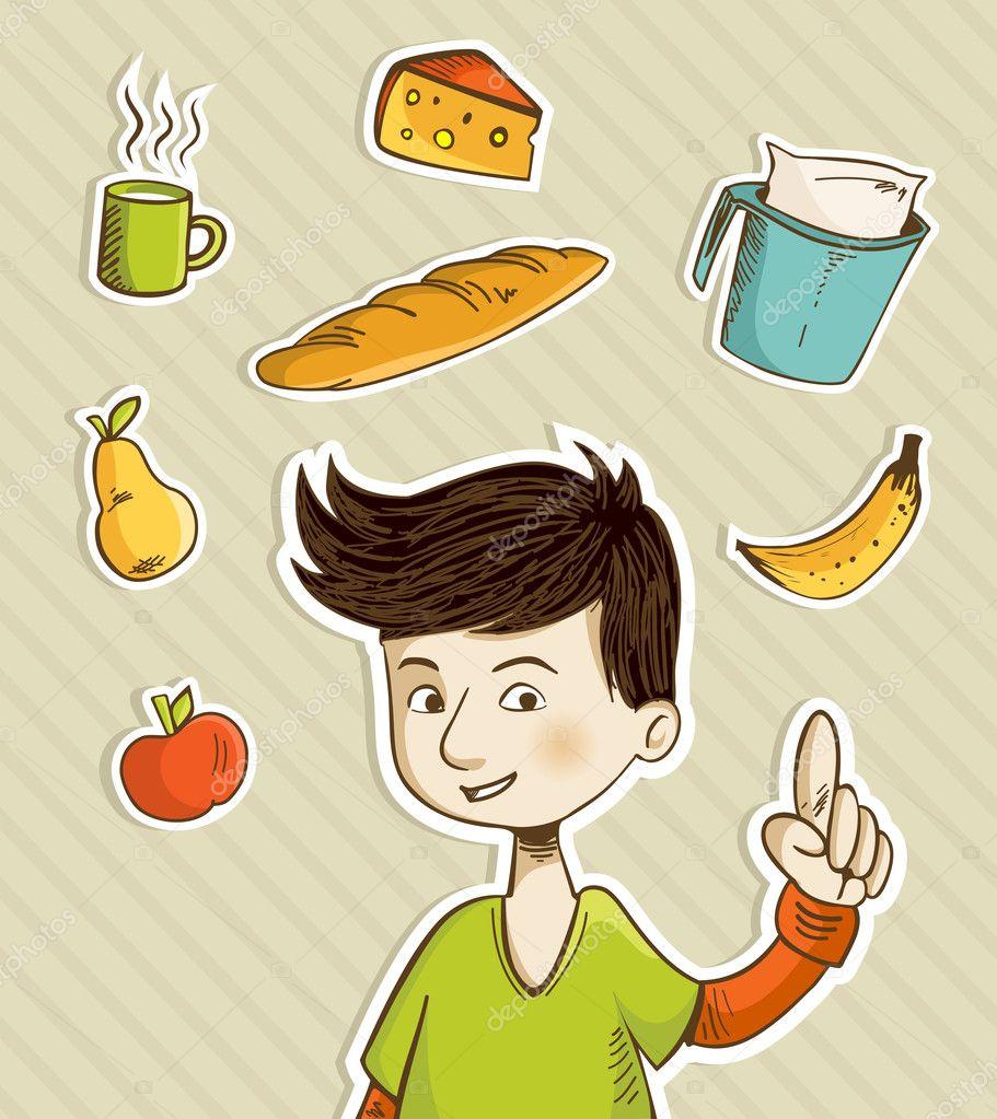 adolescente caricatura muestra alimentos saludables — Archivo ...