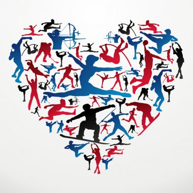 Sports silhouettes heart