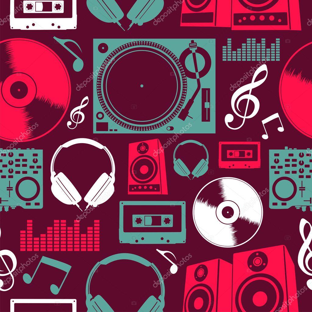 Music icons seamless pattern