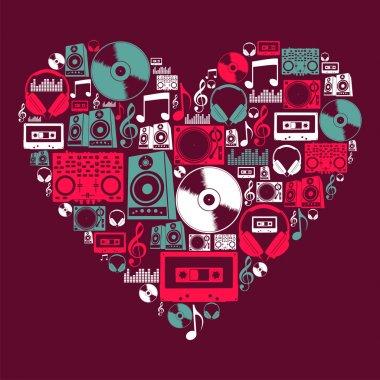 Dj Music icons love heart