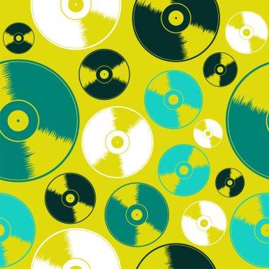 Vinyl record seamless pattern