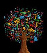 Fotografia albero musica astratto fatto con strumenti