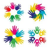 Vícebarevné rozmanitost ruce sada