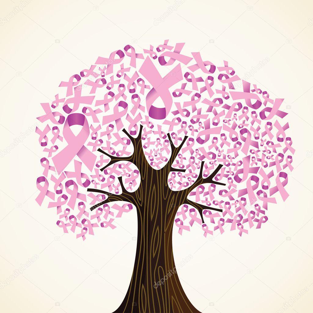 árbol de cinta de cáncer de mama — Archivo Imágenes Vectoriales ...