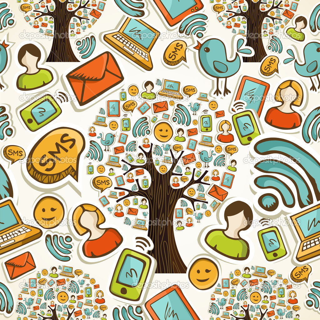Social media icons tree pattern
