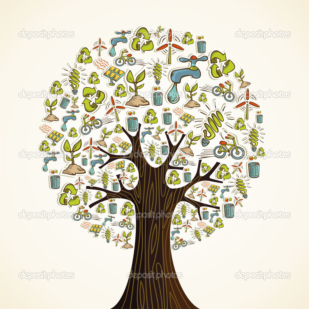 Go Green icons tree