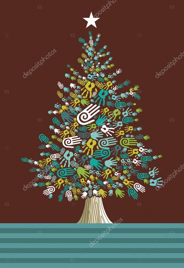 Diversity Christmas Tree hands card