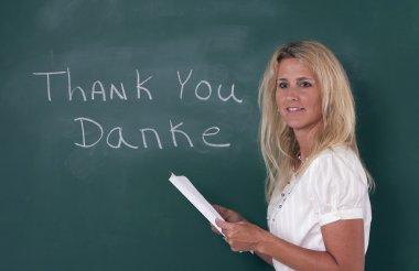 Teacher explaining foreign language