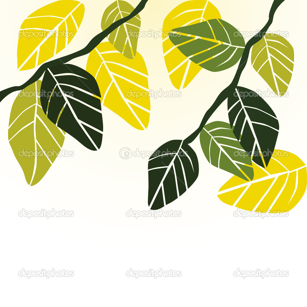 Leaves, spring - vector background