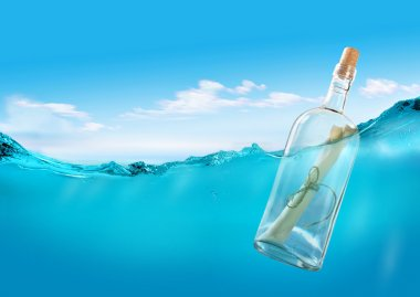 Bottle with a message in the ocean. stock vector