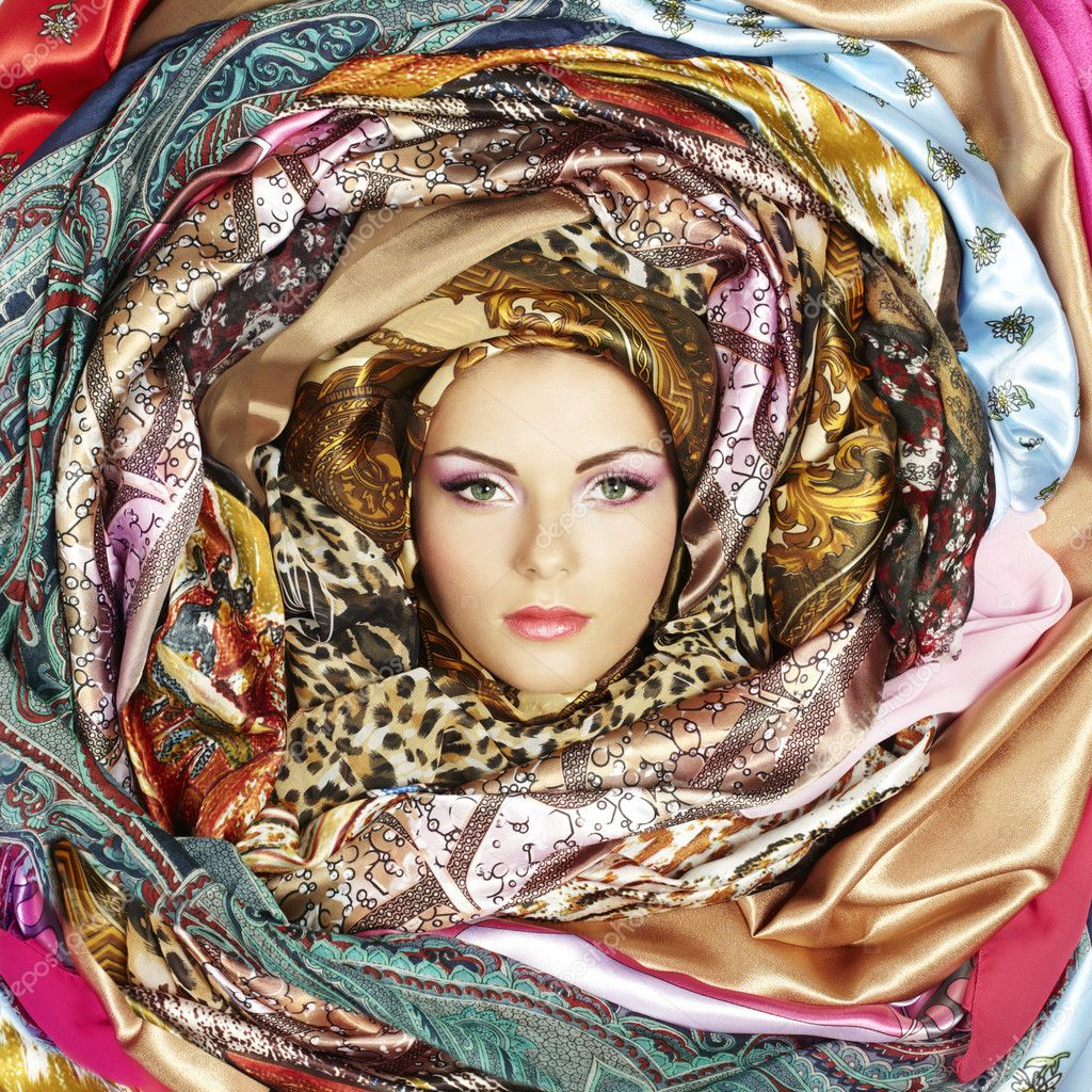 Young woman face with scarves. Close-up portrait stock vector