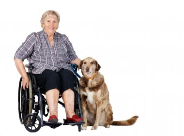 Senior woman in wheelchair with dog