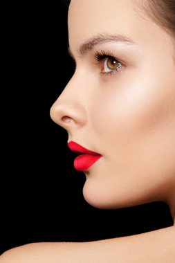 Sensual woman model with fashion bright pink lips make-up. Fashion portrait of glamour girl