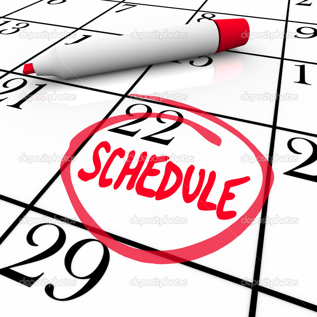 Schedule Word Circled on Calendar Appointment Reminder — Stock ...