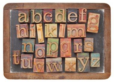 Letterpress alphabet on balckboard